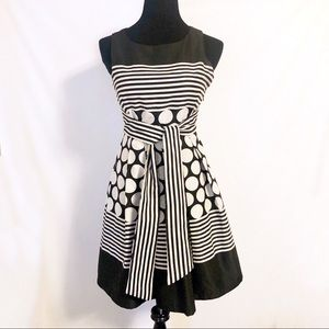 Eva Franco Black White Stripe Polkadot Dress
